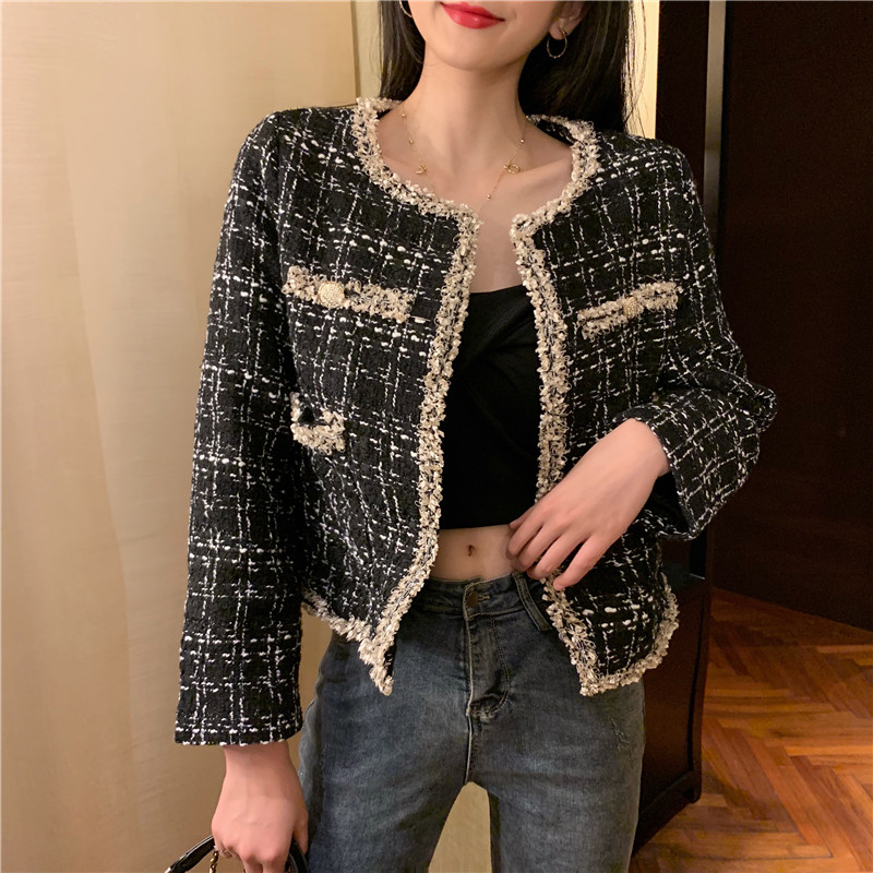 Vintage Double Breasted Frayed Checked Tweed Blazers Coat Women 2019 Fashion Pockets Ladies Outerwear Casual Casaco Femme S0147