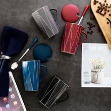 Lucky Everyday Modern Beautiful Ceramic Mug with Lid Spoon Tea Milk Bottle Cups Home Office Drinkware Waterware