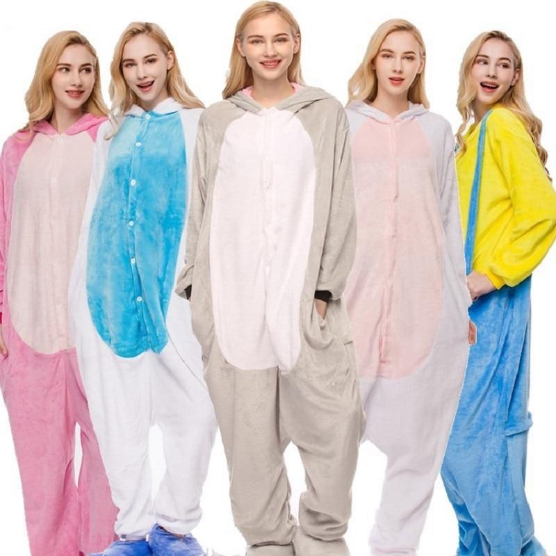 Kaguster Kigurumi Pajama Adult Cartoon Animal One-piece Pajamas Men Women Couple Winter Models Flannel Rainbow Stars Pajamas Set