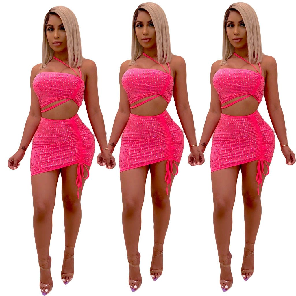 Nice Off Shoulder Strappy Diamonds Suits Strapless Back Zipper Bar Night Club Party 2Pcs Sets