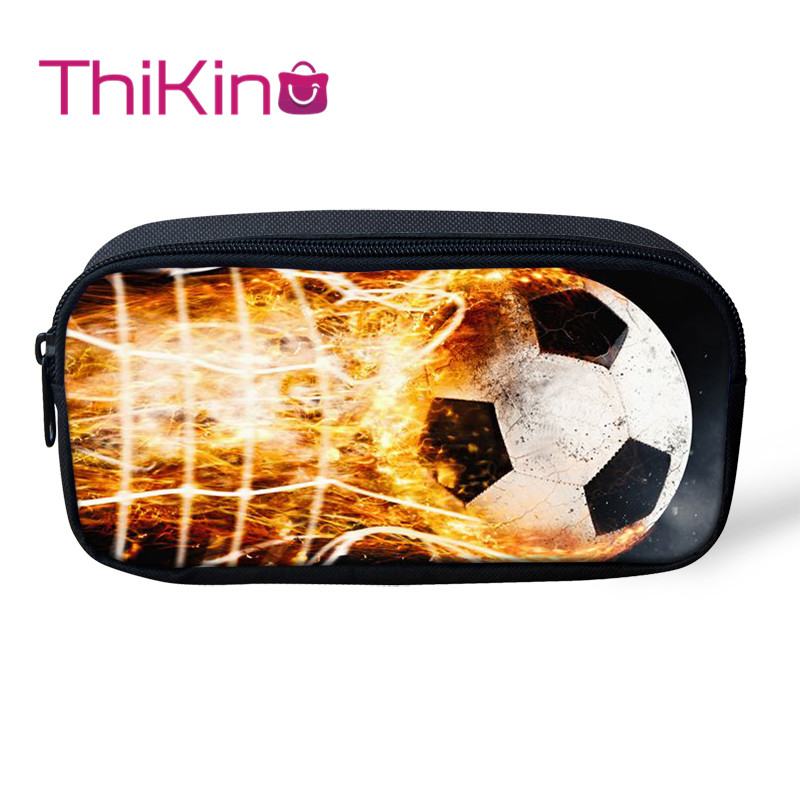Thikin Fire Soccer Ball Casual Pencil Bags Pen Bag For Boys Pen Case Student Makeup Storage HandBags Pen Purses For Kids