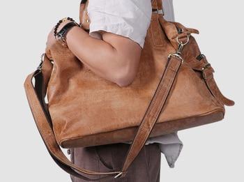 Oil Wax Genuine Leather Travel Bag Men High Capacity Fashion Duffle Bag England Style Shoulder Crossbody Unisex Viaje DF112 - DISCOUNT ITEM  23 OFF Luggage & Bags