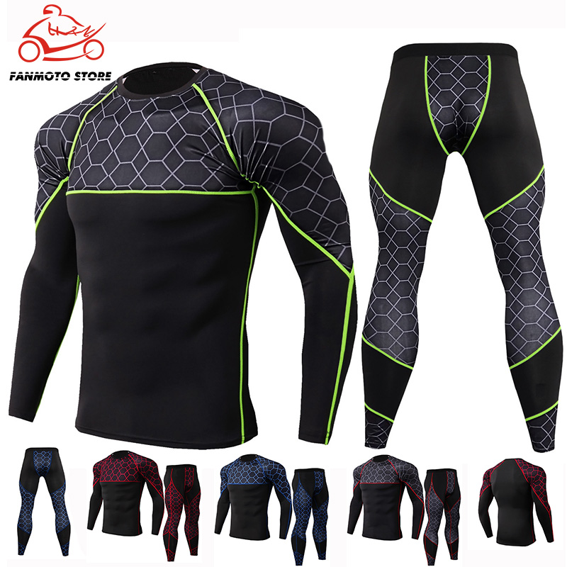 Motorcycle Men s Underwears sets Sport Breathable Quick drying Base Layers Tight Long Tops  amp  Pants Sportswear Underwear Leggings