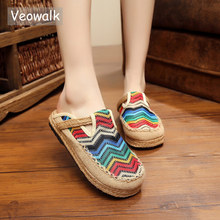 Veowalk Womens Linen Thailand Embroidery Flat Slippers Summer Fashion Vintage Ladies Chinese Style Casual Cotton home Shoes