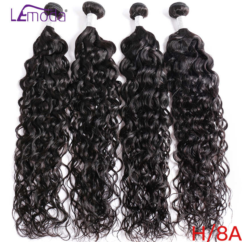 40Inch LeModa Malaysian Water Wave Hair 4 Bundles 100% Human Hair Weave Bundles Remy Hair Extensions Natural Black