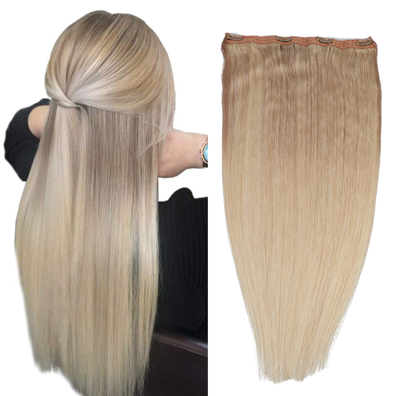 Russian One Piece Clip in Hair Extensions Human Hair 4 clips with lace 80g 100g - One Hair Pieces for Women 14-24inch