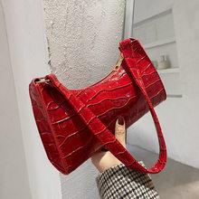 2021 New Shopping Bag Retro Casual Lady Underarm Handbag Stone Pattern Shoulder Bag Female Leather Solid Color Chain Female Bag
