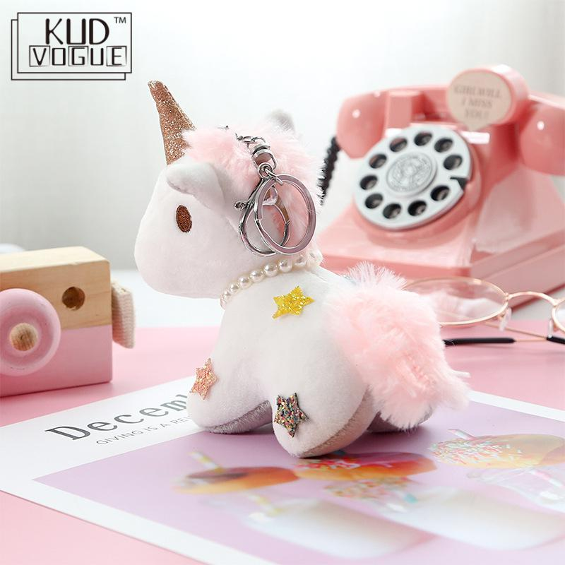 Fluffy Pompon Unicorn Keychain Rabbit Fur Ball Horse Key Chain Porte Clef Holder Bag Car Key Ring Chaveiros Women Accessories