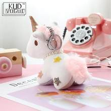 Fluffy Pompon Unicorn Keychain Rabbit Fur Ball Horse Key Chain Porte Clef Holder Bag Car Key Ring Chaveiros Women Accessories(China)
