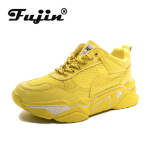 Fujin Womens Platform Sneaers Causal Shoes INS Sneakers Height Platform Breathable Vulcanize Sneakers Walking Increasing 5CM