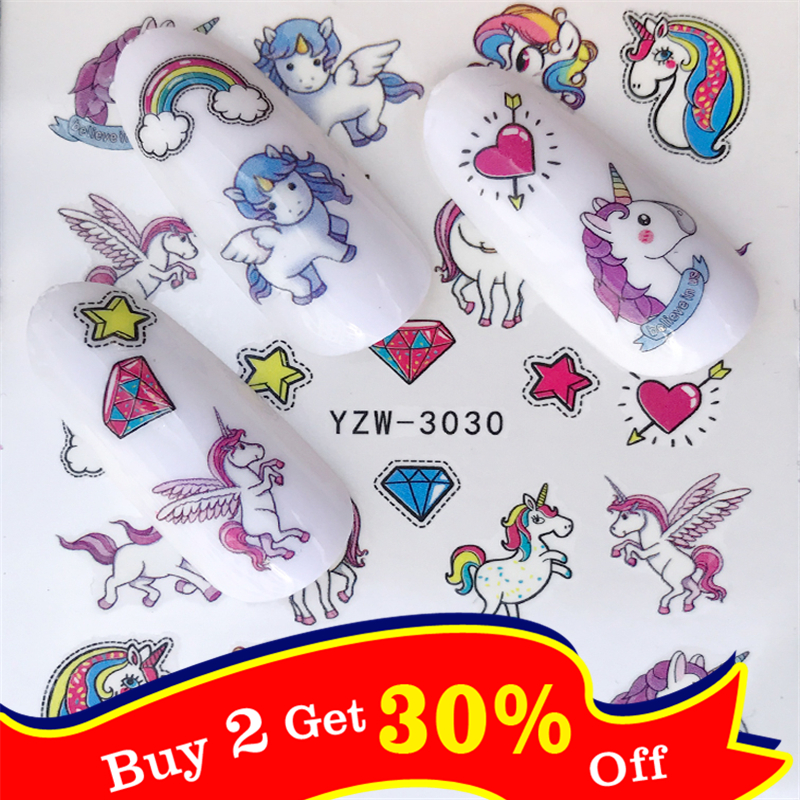 1 Sheet Butterfly / Colored Flower / Unicorn Styles Nail Decals For Watermark Manicure Polish Nail Sticker 32 Styles For Choose