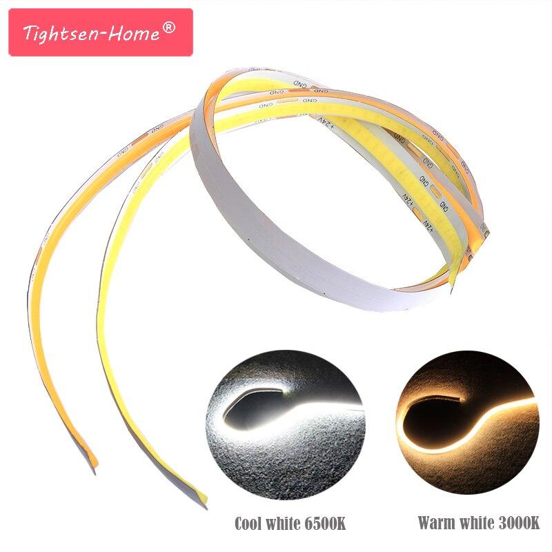 Bendable Flexible 12V 24V COB LED Strip 0.5m Soft Bar Lights FOB LED Strips Lamp For Decoration DIY Lighting  White Warm Color