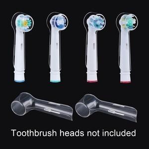 Image 2 - 4ピース/ロット電気歯ブラシヘッド保護カバーオーラルbブラウン歯ブラシヘッド旅行防塵クリーン維持透明
