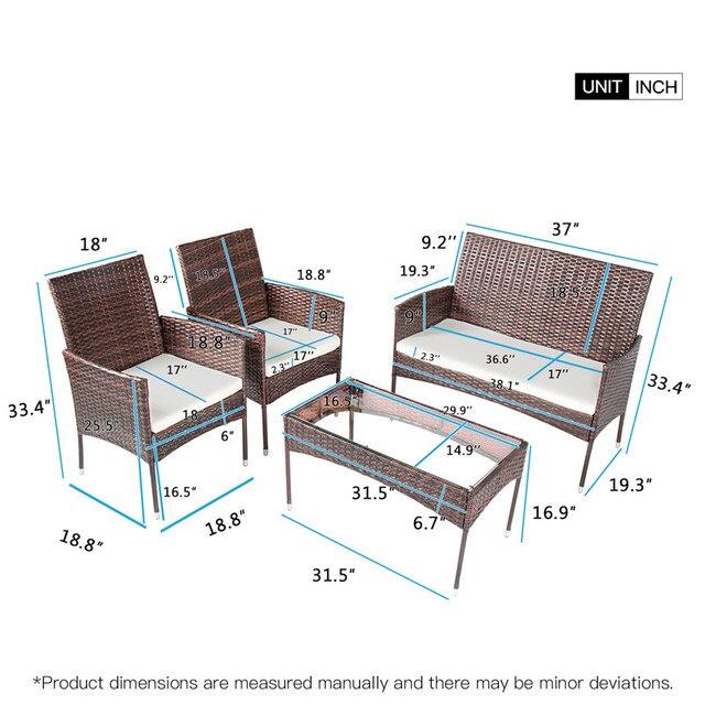 4 Pcs Rattan Patio Furniture Set 2