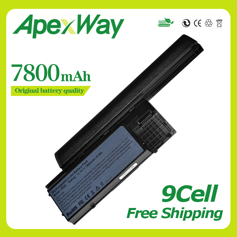 Apexway 9 Cells 7800mAh Battery For Dell Latitude D620 D630 D630c D631 For Precision M2300 HX345 NT379 PC764 RC126 TD116 UD088