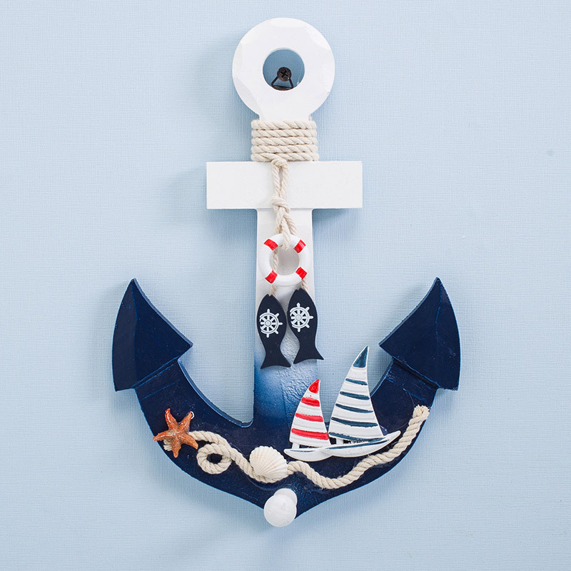 Mediterranean Style Wooden Nautical Anchor Hook Wall Hanging Ornament For Home Coffee Bar Vintage Wood Decoration Crafts Art