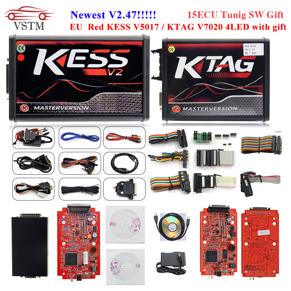 2019 KESSV2 KESS V2 V2 47 V5 017 EUVersion with ECM Titanium Winols KTAG V7 020 v2 25 LED Online Master Version ECU Programmer