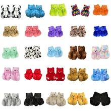Women Home Indoor Soft anti-slip Faux Fur Cute Slippers Winter Warm Shoes Cartoon Plush Teddy Bear Slippers EUR 36-40US 6-9