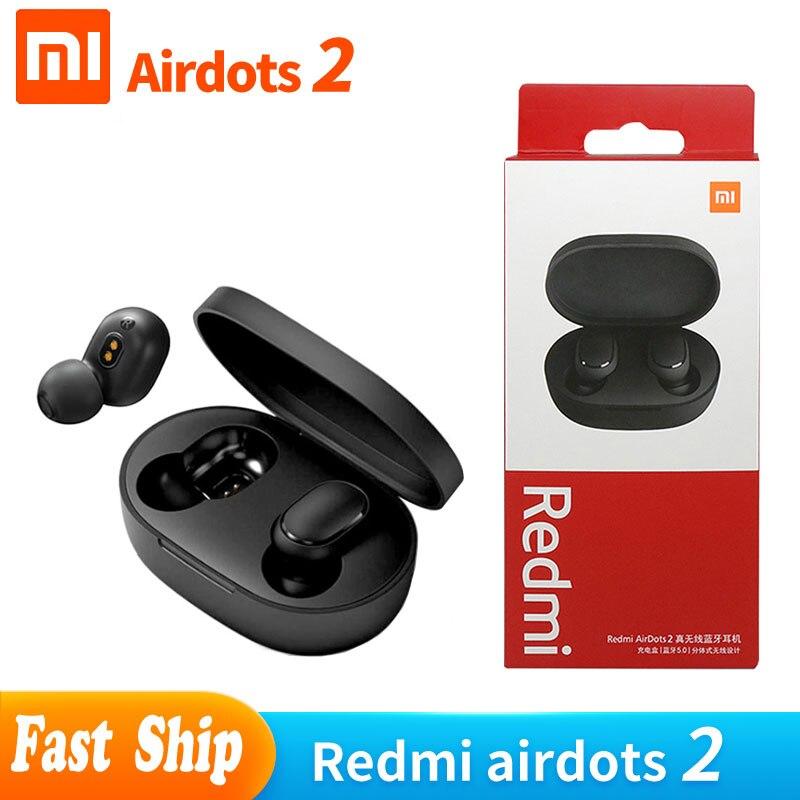 2020 оригинальные Xiaomi Airdots 2 TWS Bluetooth наушники стерео бас BT 5,0 наушники с микрофоном гарнитура наушники-вкладыши с управлением ИИ Redmi