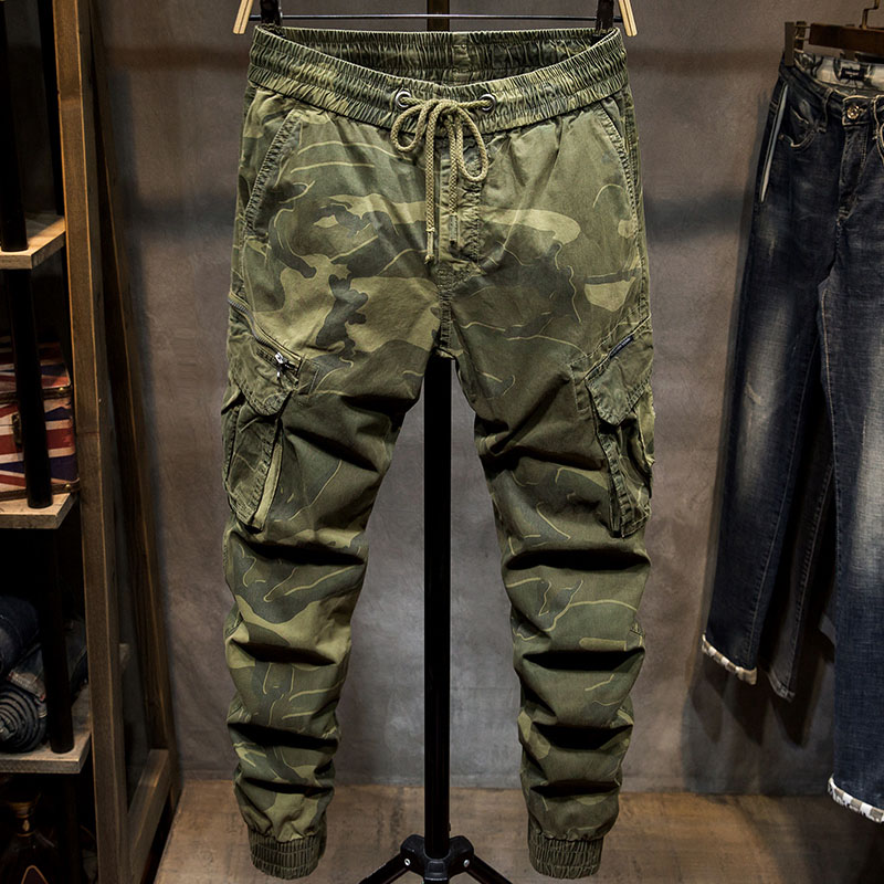 2019 New Men Camouflage Pencil Pants Long Slim Fit 3 Colors Cargo Pants Military Style Sweatpants Stretch Trousers Plus Size
