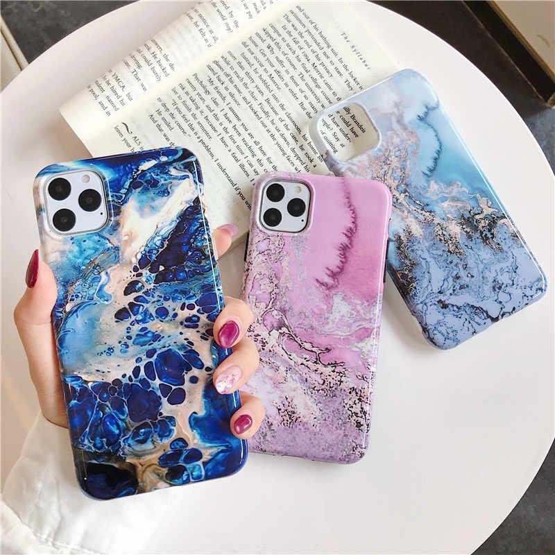 COOLY funda de arte abstracto para iPhone 11 Pro Max XR X XS 6 6S 7 8 Plus funda trasera de moda mármol IMD suave funda de silicona teléfono