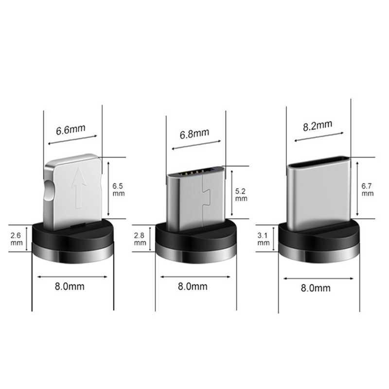 אוניברסלי עגול מגנטי כבל תקע מיקרו USB/סוג C / 8 פינים מתאם (רק Plug המגנטי) מגנט Cabo מחבר אבק תקעים