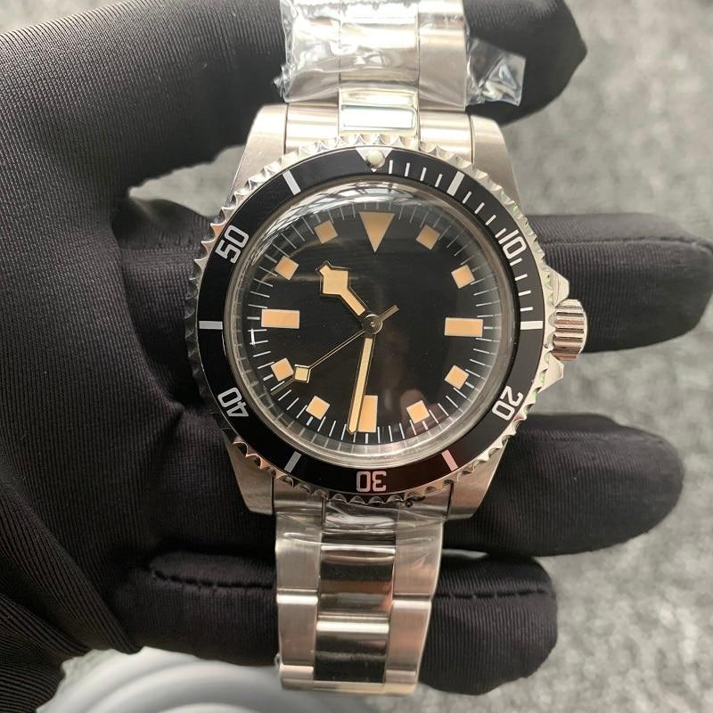 Retro 39.5mm Men's Watch Antique Acrylic Table Mirror Stainless Steel Case Luminous Retro Watch Vintage Mens Watch