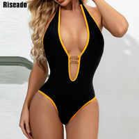 Riseado-bañador de una pieza con cuello de pico profundo para mujer, traje de baño con espalda descubierta, cadena, ropa de playa, verano 2020