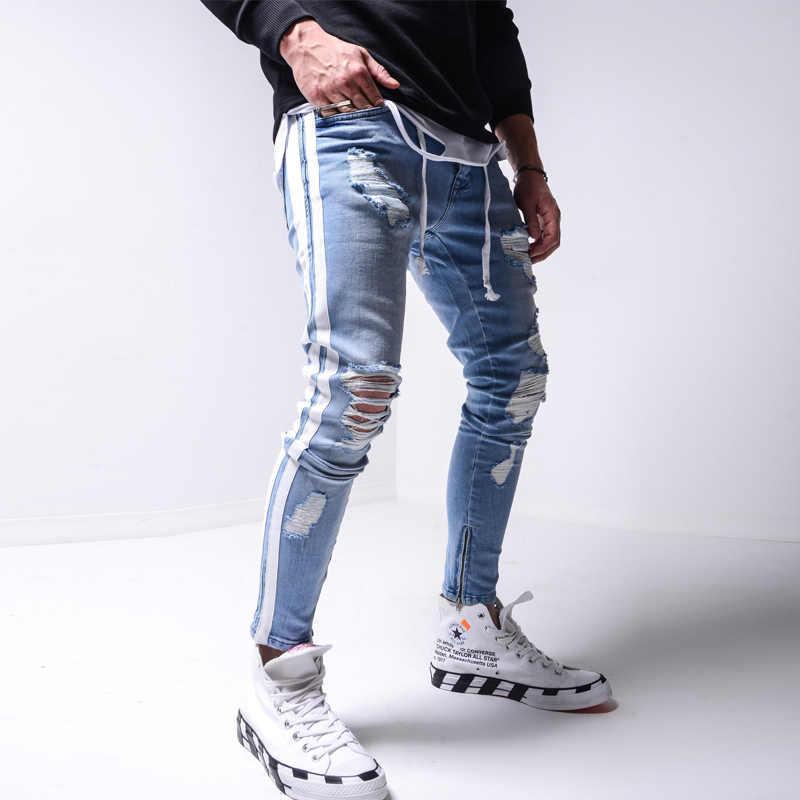 Skinny Ripped Jeans Men Pants Pencil Biker Side Striped Jeans Destroyed Hole Hip Hop Slim Fit Man Scratched Jean Hombre Pantalon Jeans Aliexpress