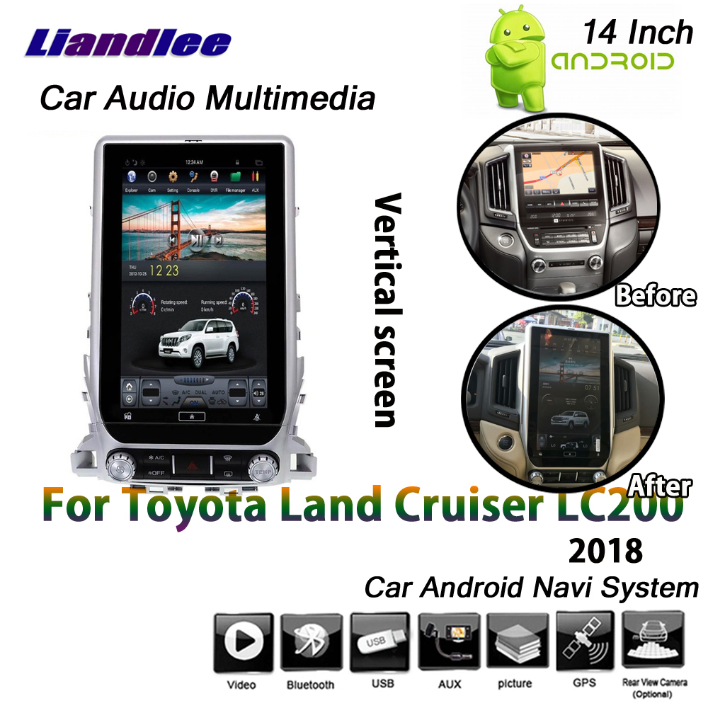 Liandlee 14 Inch 2+32G For <font><b>Toyota</b></font> <font><b>Land</b></font> <font><b>Cruiser</b></font> <font><b>LC200</b></font> 2018 <font><b>Android</b></font> 6.0 up Car Vertical Screen GPS Navi Map Navigation Multimedia image