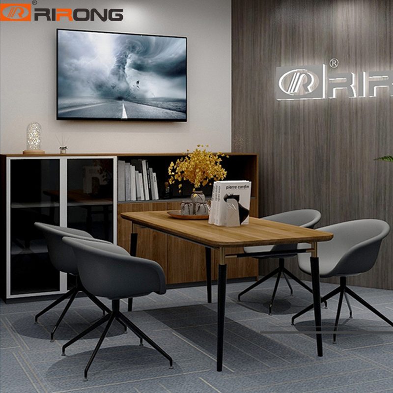 Office Recetion Furniture Study Table Rectangle Walnut Wooden Small Conference Meeting Table Gold Desk Set
