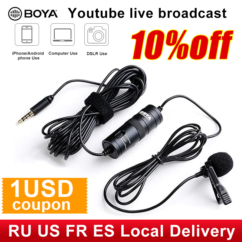 BOYA BY M1 3.5mm Audio Video Record Lavalier Lapel Microphone Clip On Mic for iPhone Android Mac DSLR Podcast Camcorder Recorder|omnidirectional condenser microphone|condenser microphonemicrophone for canon - AliExpress