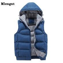 Модная куртка без рукавов, мужской утепленный жилет из хлопка, теплый зимний жилет с капюшоном, Мужская Повседневная ветровка