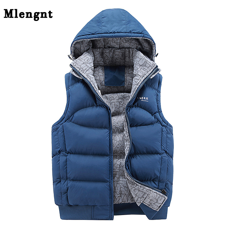 Fashion Sleeveless Jacket 2019 Men Thickening 100% Cotton Vest Hat Hooded Warm Vest Winter Waistcoat Men Casual Windbreaker