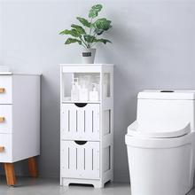 Three-Layer Two-Drawer Shelf Home Bathroom Bedroom Waterproof  Storage Cabinet Rack Living Room Furniture PVC