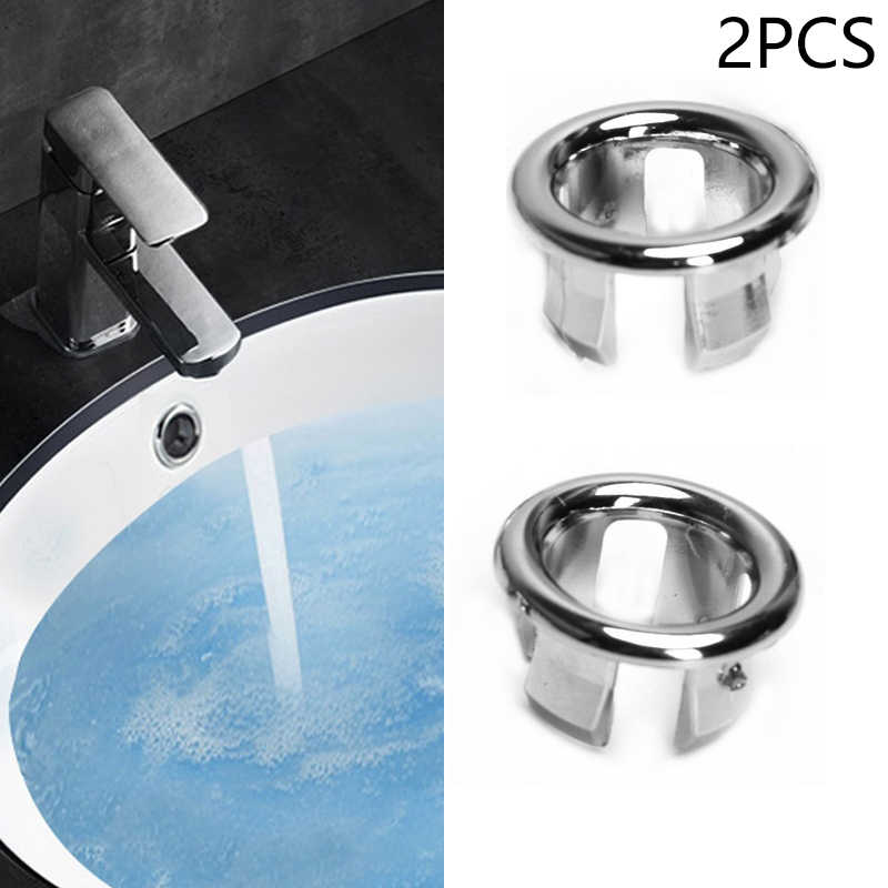High Quality 2pcs Bathroom Sink Hole Round Overflow Covers For Basin Chrome Replacement Lavatory Hole Silver Plated Double Ring Drain Strainers Aliexpress