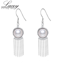 925 Sterling Silver Freshwater Pearl Earrings For Women,Natural Long Pearl Earring Jewelry  Tassel Hook Earrings цена