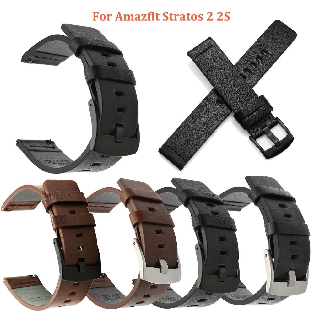 22mm Leather Watch band Strap for Amazfit Stratos 2 2S Samsung Galaxy Watch 46mm Gear S3 Wrist belt Bracelet Band Accessories