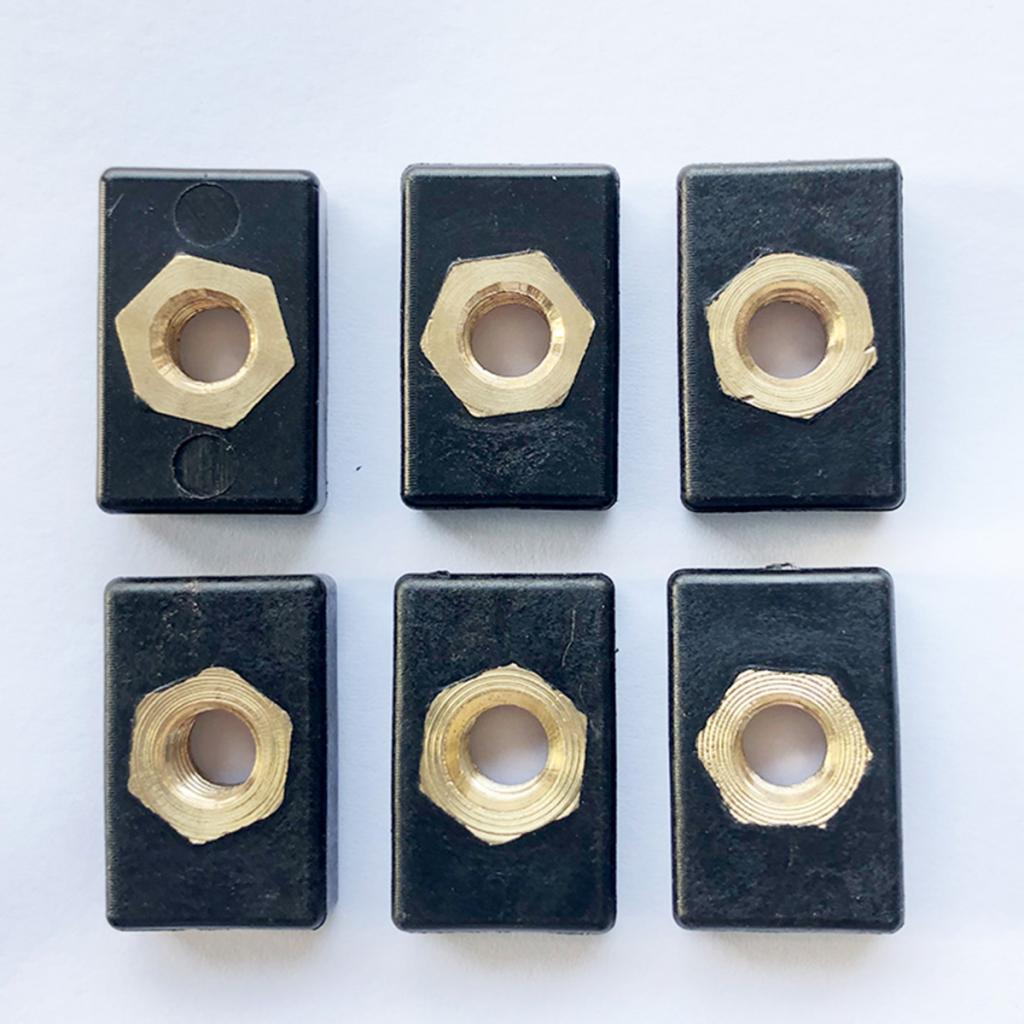 6x Copper Screws Nuts Hardware Mount Nylon Nutsert For Kayak Track / Rail
