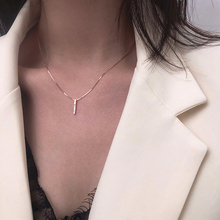 Pendant Necklaces Choker Clavicle-Chain Long-Strip Rhinestone Rose-Gold Silver-Color