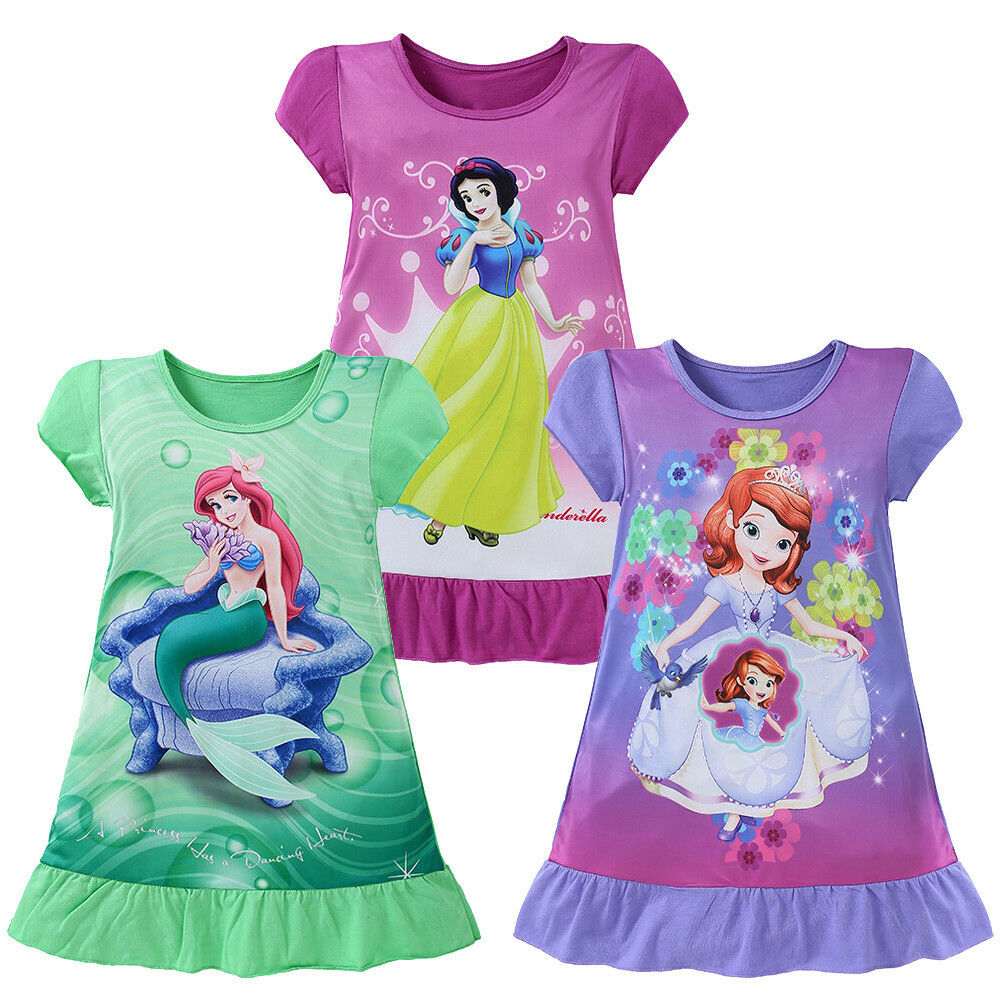 Pudcoco 4-10T Lovely Casual Kids Girls Dress Children Cartoon Character Snow White Sofia Princess Dress