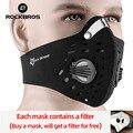 ROCKBROS велосипедная маска для лица  Пылезащитная маска для велосипеда с активированным углем с фильтром  дыхательный клапан  защитная Спорти...