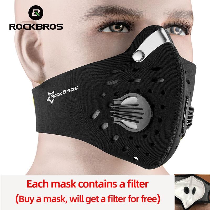 ROCKBROS Ciclismo Viso Maschera Maschera di Polvere Maschera Della Bici Carbone Attivo Con Filtro Valvola di Respirazione Maschera Anti-Inquinamento Maschera di Sport di Protezione