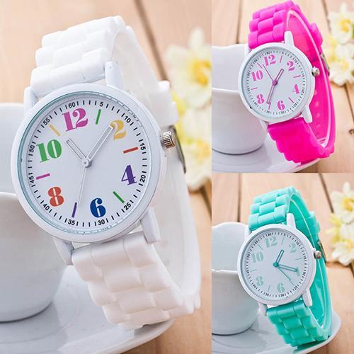 Kids Girls\' Fashion Silicone Strap Arabic Number Sport Casual Quartz Wrist Watch