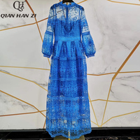 Qian Han Zi Fashion Maxi Gown Women Lantern Sleeve Embroidered Lace Perspective Hollow Out High Quality Casual Long Party Dress