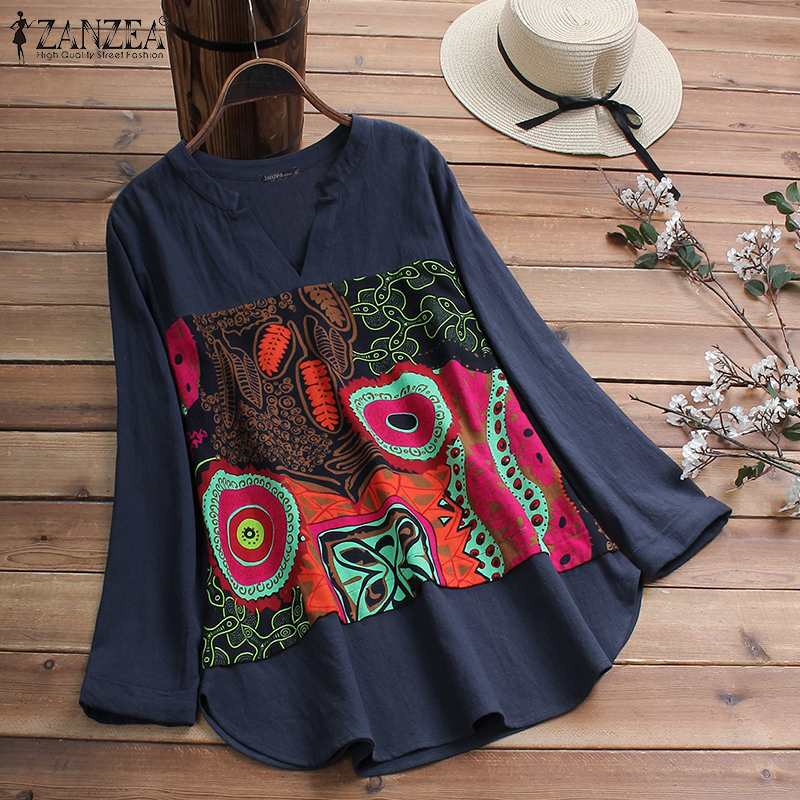 2020 ZANZEA Casual Cotton Blouse Women V Neck Long Sleeve Tunic Tops Autumn Vintage Printed Patchwork Loose Shirts Female Blusas 2