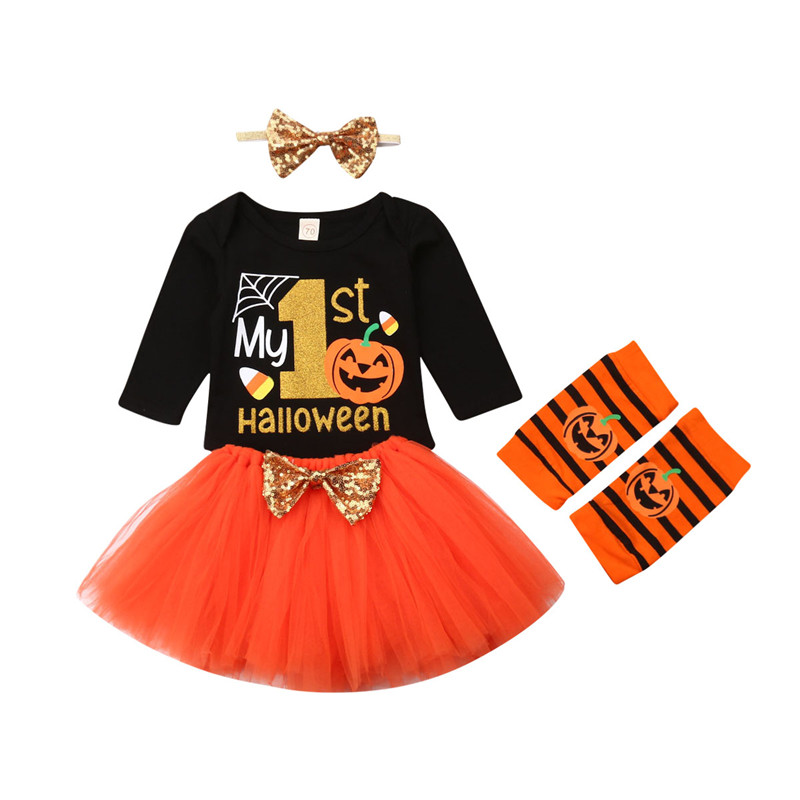 0-24M 4Pcs Halloween Costume Baby Girl Clothes Long Sleeve Pumpkin Romper Top Bow Tutu Skirt Leg Warmers Headband Party Outfits