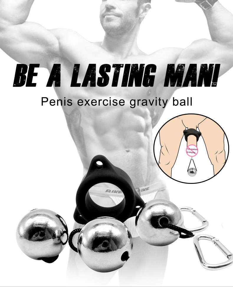 Silicone Comfortable Penis Ring Penis Exercise Device Metal Ball Weight Hanger Penis Enlargement Pump Stretcher Extender Sex Toy