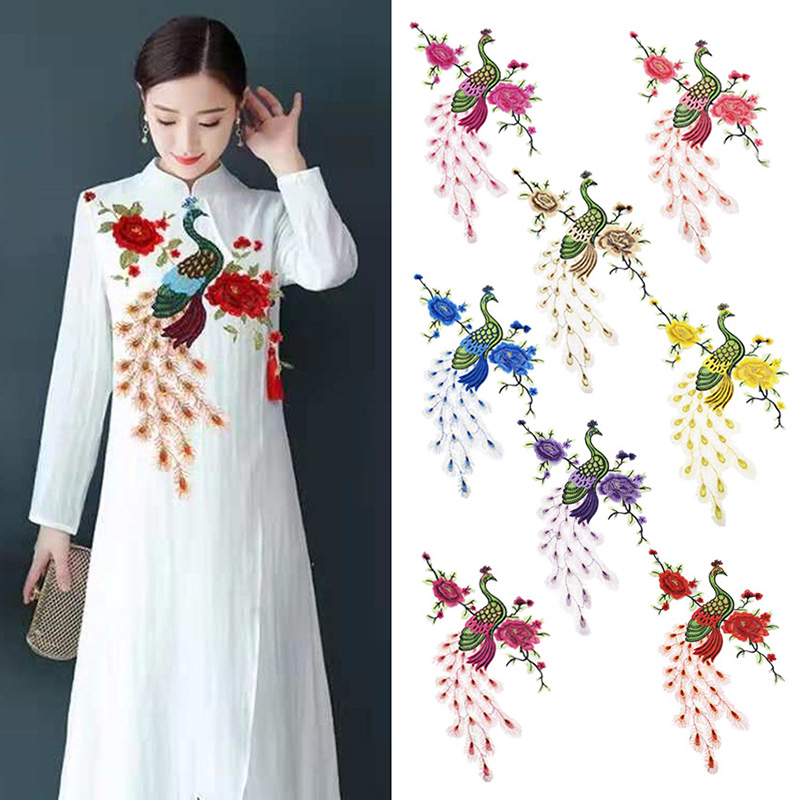 New Fashion Embroidery Color Large Peacock Peony Gauze Stickers Patch Boutonniere For Clothing Patch Badge Accessories