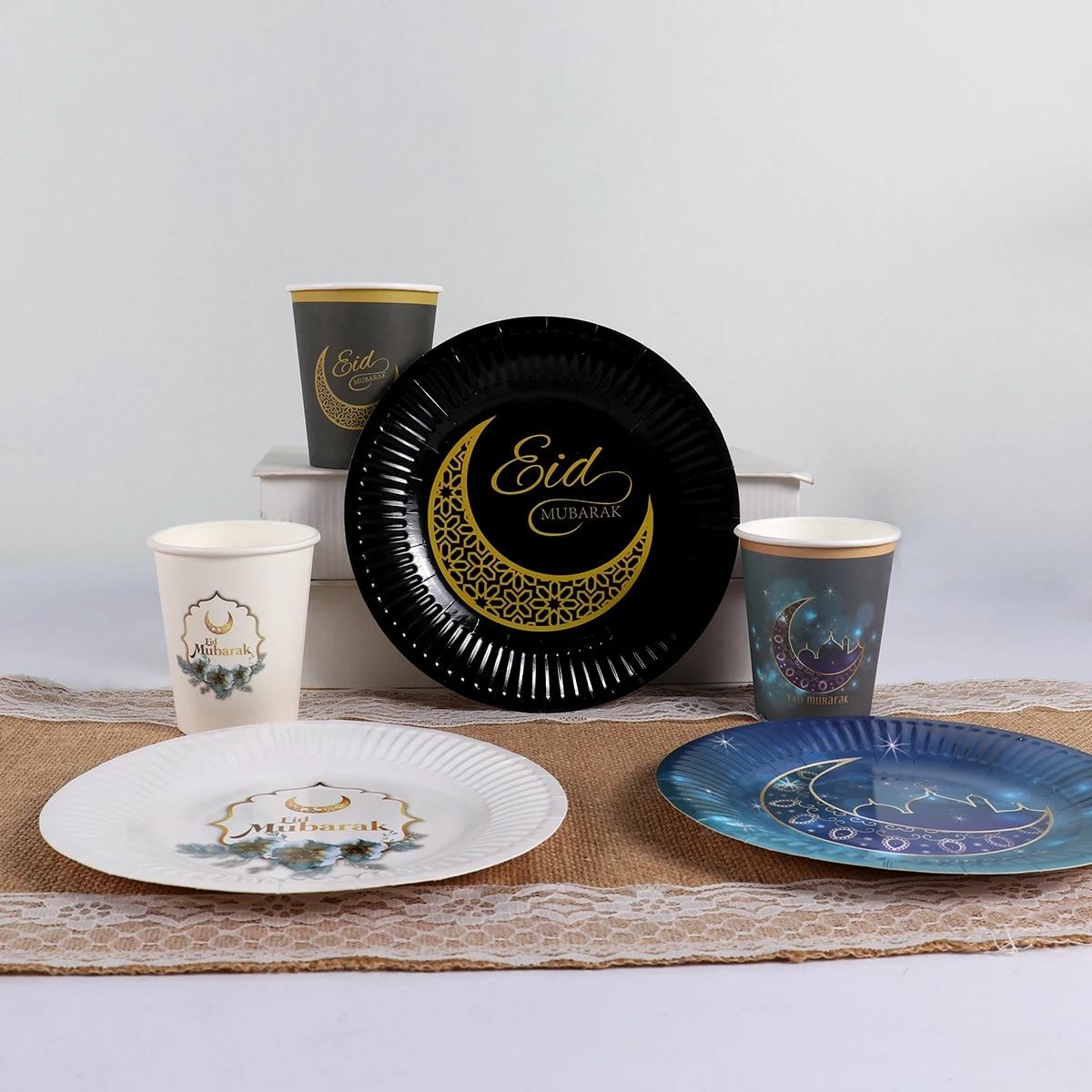 Eid Al Fitr Wegwerp Servies Papier Cup Plaat Ramadan Kareem Decoratie Eid Mubarak Moslim Islamitische Festival Party Diy Decor Party Diy Decorations Aliexpress